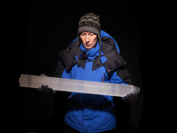 Expedition leader Margit Schwikowski with an ice core