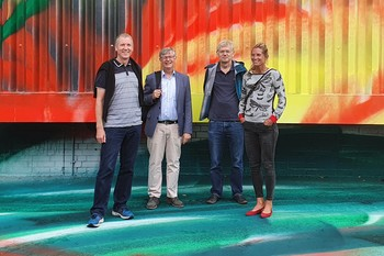 The researchers who want to better understand light-controlled biological switches and develop new tools for research (from left to right): Rob Lucas, Gebhard Schertler, Peter Hegemann, and Sonja Kleinlogel