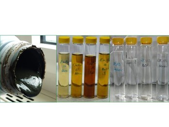 left: fermentation residue, mid: extract phases after liquefaction, right: extract phases after gasification