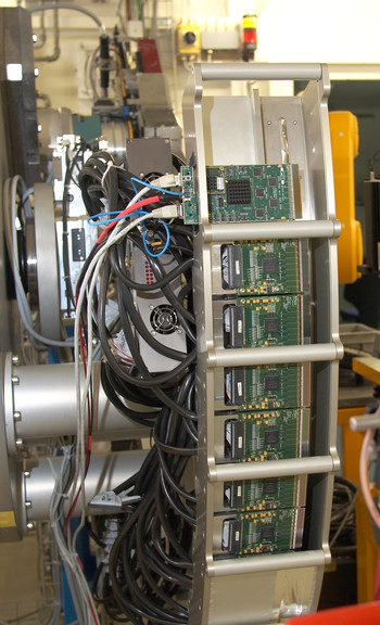 A Gotthard module undet test in the Mythen detector array at the SLS Material Science beamline.