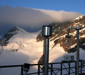 Aerosol inlets on top of the Sphinx building at Jungfraujoch.