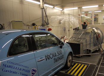 Using the mobile smog chamber to investigate primary aerosol emissions and secondary aerosol formation from a gasoline car at the European Union Joint Research Centre (JRC) Vehicle Emissions Laboratory, 2011.