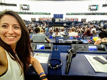 A glimpse of the plenary room of the European Parliament