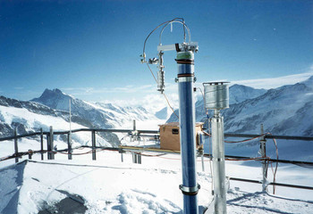 Aerosol inlets on top the Sphinx Laboratory at Jungfraujoch. Interstitial inlet (left), total inlet (right), SMPS (in the back), Aletsch Glacier (further in the back).