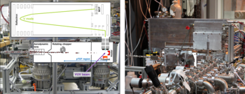 Left: Schematic representation of the Aerodyne AMS with VUV ionization source. Right: Implementation of the AMS with the X04DB VUV beamline at the SLS.