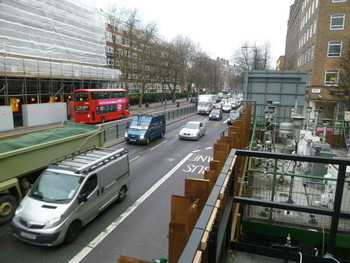 View of Marylebone Road, London, from the rooftop of the air quality monitoring site in January 2012.