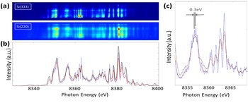 Figure 4: Comparison of single-shot spectra from the diffracted beam and the direct beam. (a) 2D images as recorded on the detectors, from the Si(333) (diffracted beam), and the Si(220) (direct beam) spectra. (b) Projections of the same shot from the Si(333) spectrometer (blue), the Si(333) spectrum after smoothening (red), and from the Si(220) spectrometer (black). The spectrum from the Si(220) reflection has similar overall features and intensity distribution. (c) Detail of the same spectra. SASE spikes …