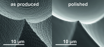 Fig1. Zoom into the micro-lens array as produced and after the new contact-less polishing process developed at PSI/LMN using high energy photons and selective polymer reflow.