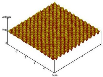 AFM image of poly(glycidyl methacrylate) nanostrucutures grafted on a fluoropolymer foil