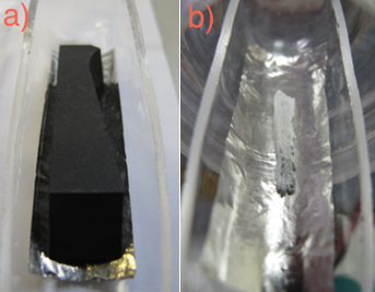 Images showing a) a sample of proton irradiated graphite before and b) its residue after burning it in oxygen at 1000 °C. The white residue represents oxidised spallation products originating from carbon irradiation (Li, B and Be)