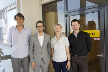 Johannes Schindler and the thesis committee after the defense: Tom Ian Battin (EPFL), Johannes Schindler, Margit Schwikowski (PSI), and Hubertus Fischer (Uni. Bern)