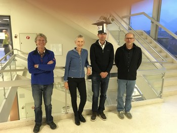 Dimitri Osmont and the thesis committee: Michel Legrand (IGE), Margit Schwikowski (PSI), Dimitri Osmont, and Willy Tinner (Uni Bern)