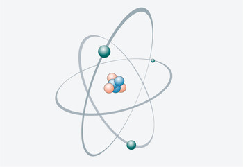 In nature, neutrons are bound in atomic nuclei (shown in blue in the diagram).