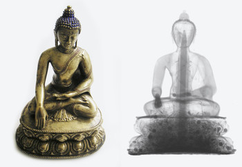 Neutron research in the service of archaeology: Tibetan Buddha statue made of brass (15th century). Photograph and a neutron radiogram. The radiogram reveals wooden objects and dried flowers hidden inside the statue. The statue remained completely undamaged during the investigation. Neutrons easily pass through metals and reveal substances containing hydrogen.