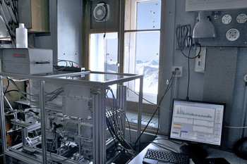 The new mass spectrometer at the Jungfraujoch Research Station.