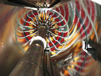 The pixel detector at the centre of the CMS after the installation stage at CERN. (Photo: H.R.Bramaz)