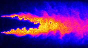 …and this is how it appears under the laser. With the laser spectroscopic techniques developed at PSI, images of the flames with much greater detail can be obtained.(Source:PSI)