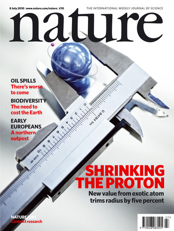 Cover of the Nature issue reporting on the proton radius measurements at PSI using muons. The muon is represented by the small purple sphere. (Reprinted by permission from Macmillan Publishers Ltd: Pohl, R. et al. Nature 466, 213-217 (2010))