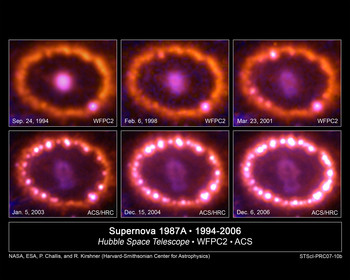 Supernova 1987 A in the first years after the explosion. The glowing astral debris is heated in the middle, primarily by Ti-44.  Source: NASA, ESA, P. Challis and R. Kirshner (Harvard-Smithsonian Center for Astrophysics)