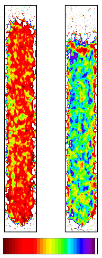 Spatial distribution of ice and water in a cylindrical water column, as measured in the present study with the new neutron imaging technique. Red means only ice present, violet only liquid water. Copyright: American Physical society
