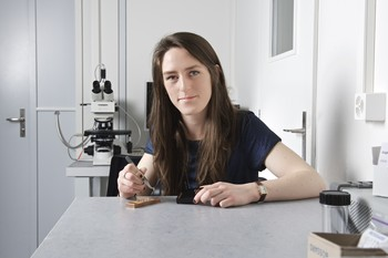 Claire Donnelly, PhD student in the Laboratory for Mesoscopic Systems, preparing a tomography experiment. The samples to be investigated are located on top of the small copper pins, but are too small to be seen in the photograph. (Paul Scherrer Institut/Markus Fischer)