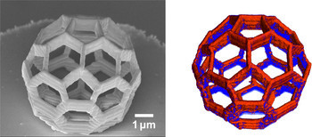 3D image of the buckyball structure investigated. In the right picture the distribution of Cobalt is shown in orange. (The solid line corresponds to 1 micrometre or 1 thousandth of a millimetre).