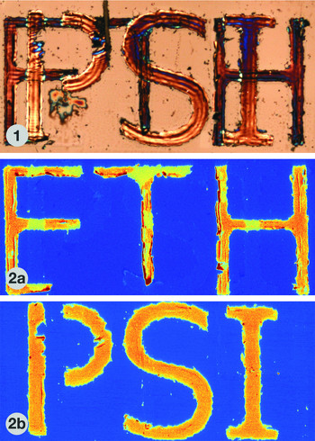 With chemical imaging, different chemicals can be made visible independently. Here the abbreviations ETH and PSI are written in the metals gold and silver. In a conventional optical microscope (1), one would see the two sets of lettering superimposed. In a chemical microscope (2a, 2b), each of the two metals can be made visible, so that the characters are clearly legible. (Reprinted with permission from Anal. Chem. 2013, 85, 10112. Copyright 2016 American Chemical Society)