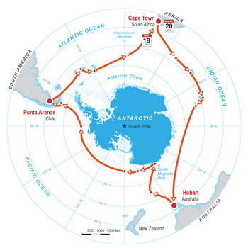 The route of the Antarctic Circumnavigation Expedition (ACE). From December 2016 to March 2017, more than fifty researchers — among them Julia Schmale — will journey together to collect samples and data. (Source: EPFL Infographic/Pascal Coderay)