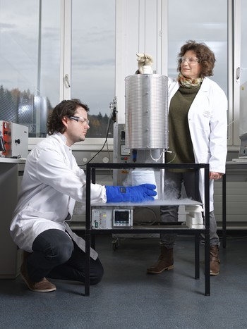 PSI researchers Mickaël Morin and Marisa Medarde freeze-in the atomic arrangement of the multiferroic material YBaCuFeO5. For this, the piece of material is first heated in an oven to 1000 degrees Celsius and afterwards dropped into a vessel filled with minus 200 degree Celsius-cold liquid nitrogen. (Photo: Paul Scherrer Institute/Markus Fischer)