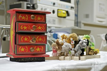 Used by staff at the CPT to help sooth children and establish trust, a large collection of finger puppets brings a smile to the faces of young patients. (Photo: Paul Scherrer Institute/Markus Fischer)