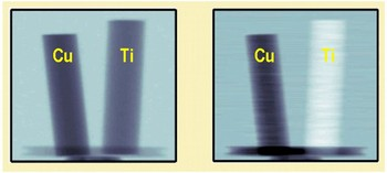 Figure 3: Measured neutron images of two metallic rods with 6 mm diameter made of copper and titanium. (Left) Conventional absorption image. (right) phase contrast image.