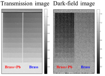 Figure 6: (Left) The transmission image of two brass step wedges. The left wedge is containing 3% of lead but no difference is reveal in this image. (Right) The dark-field image however clearly highlights the ability of detecting scattering, occurring from lead precipitations in the brass wedge.