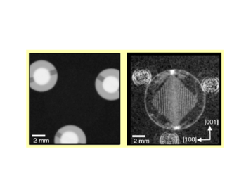 Figure 4: Measured neutron images of a magnetic sample (silicon iron) in the form of a disk with a thickness of 300 microns and 10 mm in diameter. (Left) Conventional absorption image. (right) Dark-field image. The white lines which form a rhombus are magnetic domain walls.