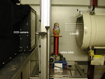Figure 10: Experimental setup for neutron tomography at NEUTRA