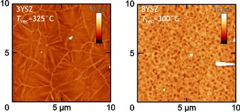 Enhanced recrystallization kinetics of pulsed laser deposited amorphous 3YSZ and 8YSZ thin films leading to abnormal grain growth for 3YSZ.