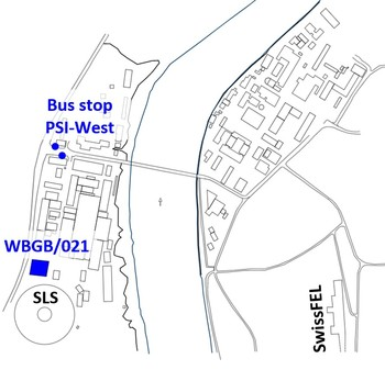 PSI campus with bus stop PSI-West and the Time-Out building WBGB highlighted.