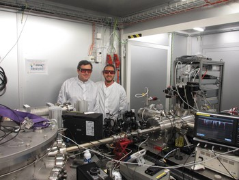 !SwissFEL laser group with senior scientist Andrey Stepanov and PhD student Fernando Ardana working on the HHG/THz beamline